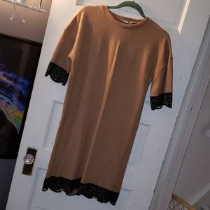 Zara tan black lace sweater dress nwt sz s